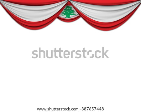 Flag of Lebanon drawn on a theater curtain - stock photo