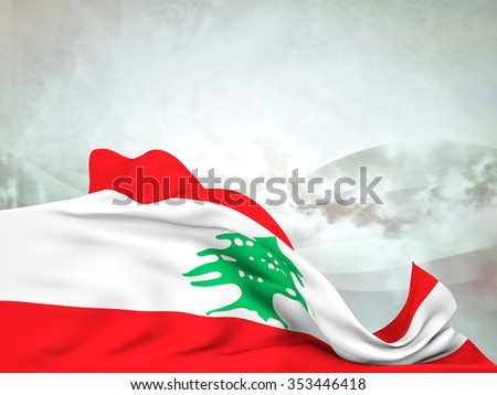 Flag of Lebanon moved by the wind, leaving a useful space over abstract waves - stock photo