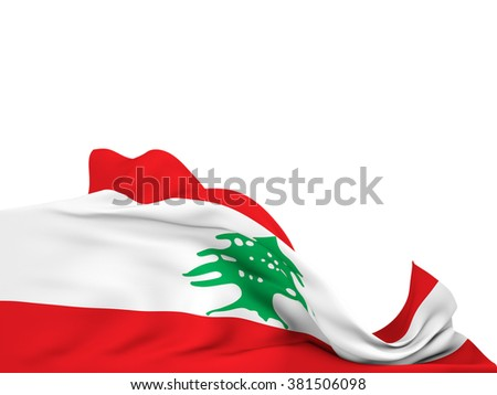 Flag of Lebanon moved by the wind, leaving a  white background - stock photo
