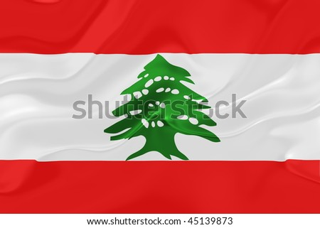Flag of Lebanon, national country symbol illustration wavy fabric