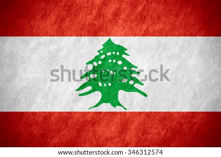 flag of Lebanon or Lebanese banner on canvas texture