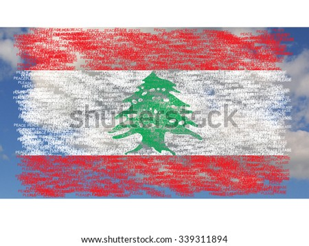 Flag of Lebanon painted on words peace please, on background with clouds - stock photo