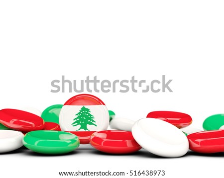 Flag of lebanon, round buttons isolated on white. 3D illustration