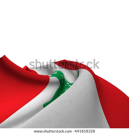 Flag of Lebanon silky,  fantastic close up shot ,masterfully folded  and resting on a white background-3d rendering - stock photo