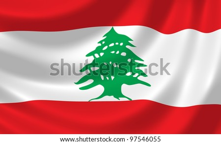 Flag of Lebanon waving in the wind detail