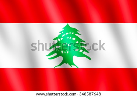Flag of Lebanon waving in the wind giving an undulating texture of folds in the fabric. The Image is in the official ratio of the flag - 2:3.