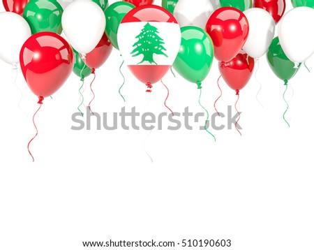 Flag of lebanon, with balloons frame isolated on white. 3D illustration