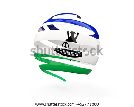 Flag of lesotho, round icon isolated on white. 3D illustration