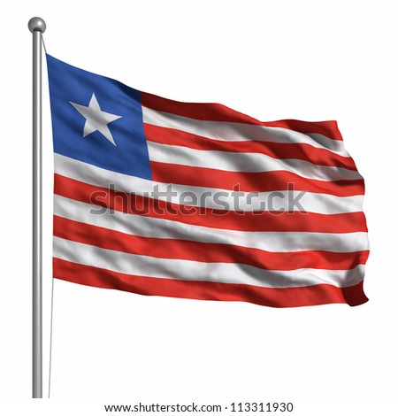 Flag of Liberia. Rendered with fabric texture (visible at 100%). Clipping path included.