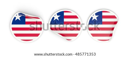Flag of liberia, three round labels isolated on white. 3D illustration