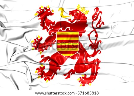 Flag of Limburg Province, Belgium. 3D Illustration.
