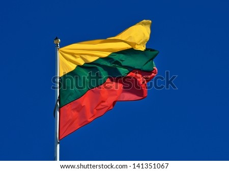 flag of Lithuania against blue sky