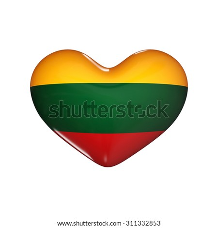 flag of Lithuania on the heart. 3d render illustration