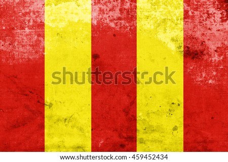 Flag of Lodz Voivodeship, Poland, with a vintage and old look - stock photo