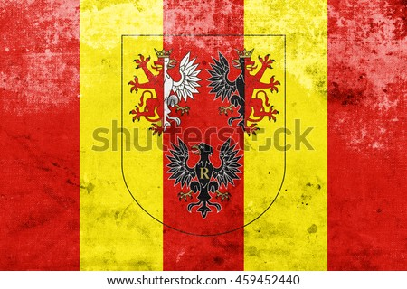 Flag of Lodz Voivodeship with Coat of Arms, Poland, with a vintage and old look - stock photo