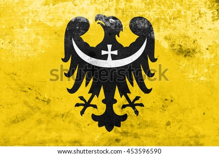 Flag of Lower Silesian Voivodeship, Poland, with a vintage and old look - stock photo