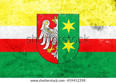 Flag of Lubusz Voivodeship with Coat of Arms, Poland, with a vintage and old look - stock photo