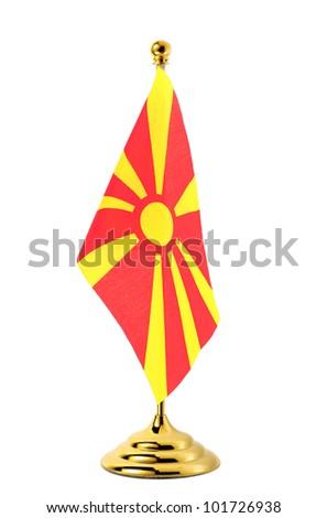 Flag of Macedonia hanging on the gold flagpole,Isolated on the white background - stock photo