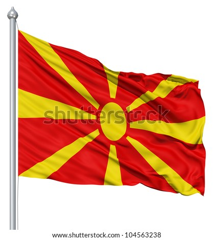 Flag of Macedonia with flagpole waving in the wind against white background - stock photo
