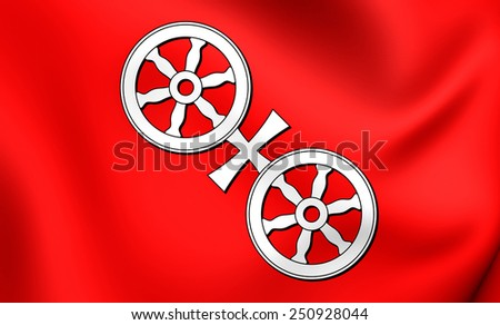 Flag of Mainz, Germany. Close Up.    - stock photo