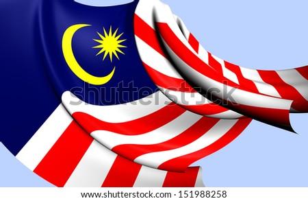 Flag of Malaysia. Close Up.    - stock photo