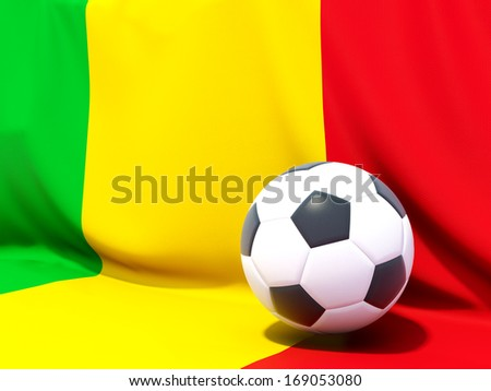 Flag of mali with football in front of it - stock photo