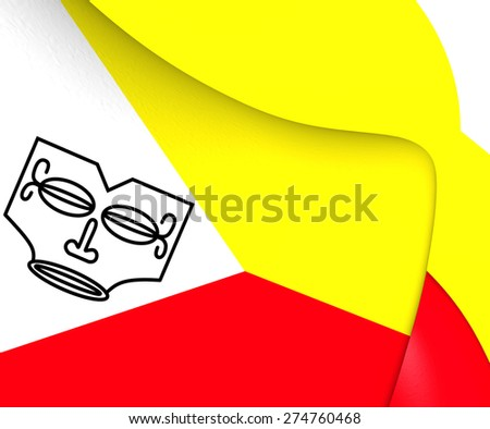 Flag of Marquesas Islands, French Polynesia. Close Up. - stock photo
