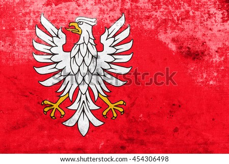 Flag of Masovian Voivodeship, Poland, with a vintage and old look - stock photo