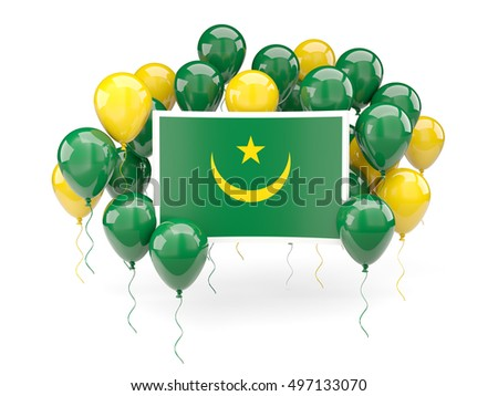 Flag of mauritania, with balloons isolated on white. 3D illustration