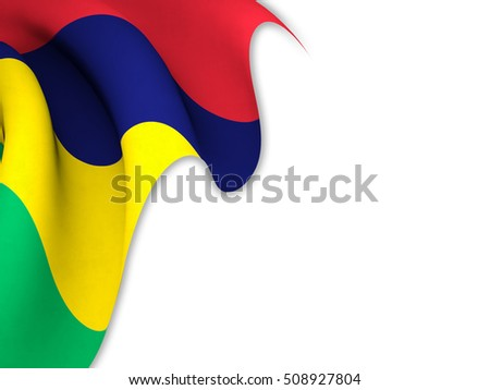 Flag of Mauritius close up while waving over a white background-3d rendering
