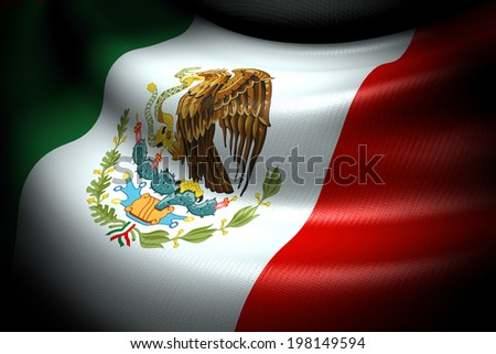 Flag of Mexico in the dark with brightness spot - stock photo