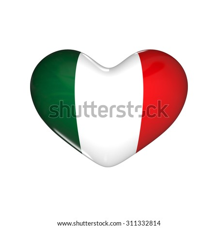 flag of Mexico on the heart. 3d render illustration - stock photo