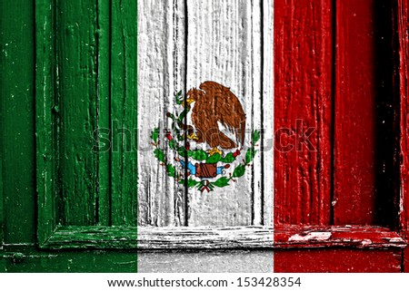 flag of Mexico painted on wooden frame - stock photo