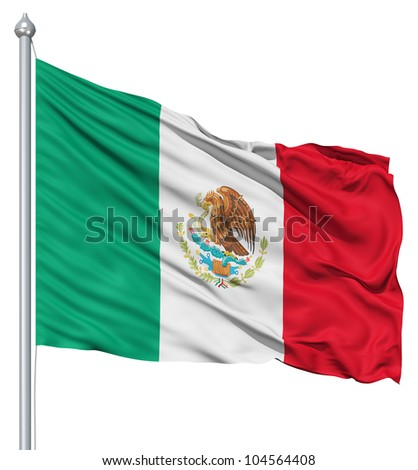 Flag of Mexico with flagpole waving in the wind against white background