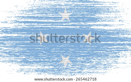 Flag of Micronesia with old texture.  illustration - stock photo