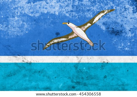 Flag of Midway Atoll (unofficial), with a vintage and old look - stock photo