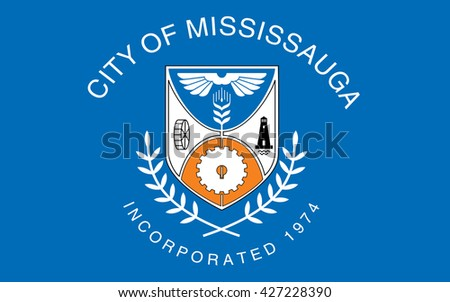 Flag of Mississauga is the sixth largest city in Canada.  - stock photo