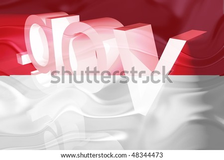 Flag of Monaco, national country symbol illustration wavy gov government website