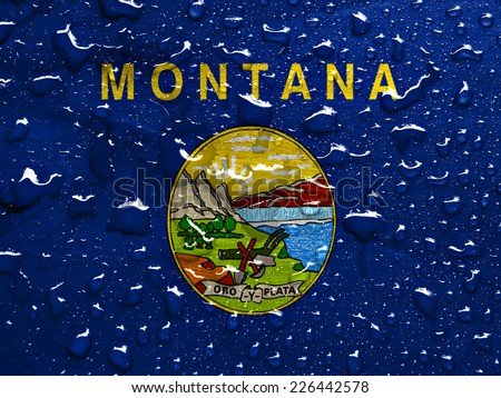 flag of Montana with rain drops