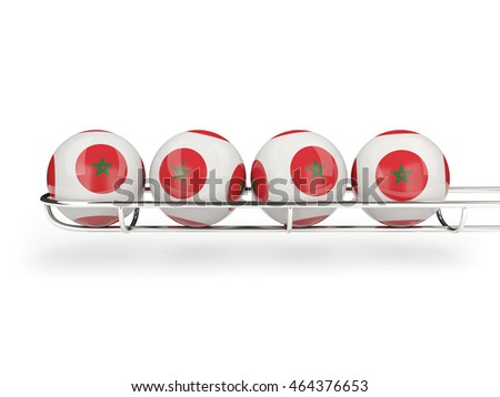 Flag of morocco on lottery balls. 3D illustration