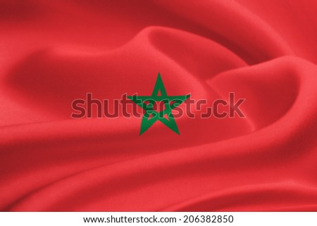 flag of Morocco waving in the wind. Silk texture pattern