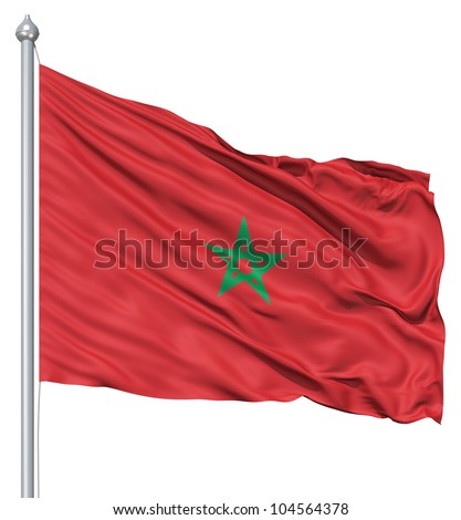 Flag of Morocco with flagpole waving in the wind against white background - stock photo