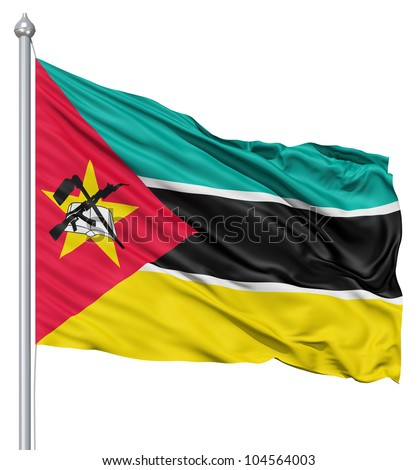 Flag of Mozambique with flagpole waving in the wind against white background
