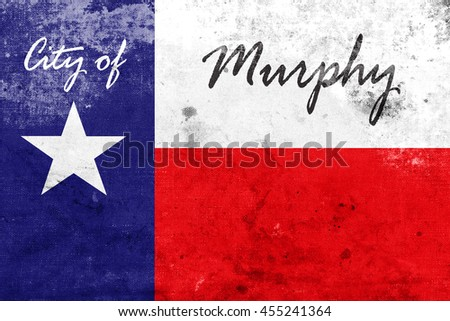Flag of Murphy, Texas, USA, with a vintage and old look - stock photo