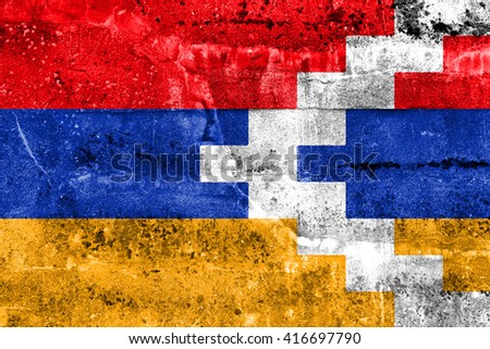 Flag of Nagorno Karabakh, painted on dirty wall. Vintage and old look. - stock photo
