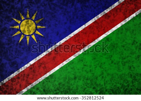 Flag of Namibia in grunge style.