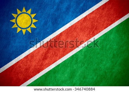 flag of Namibia or Namibian banner on canvas texture