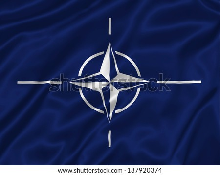 Flag of NATO - stock photo