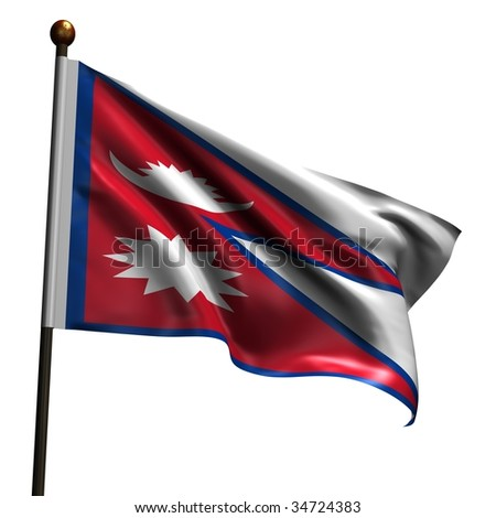 Flag of Nepal. High resolution 3d render isolated on white with fabric texture. - stock photo