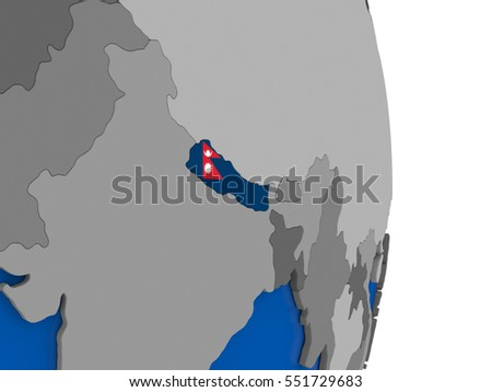 Flag of Nepal on simple globe with grey countries and blue ocean. 3D illustration